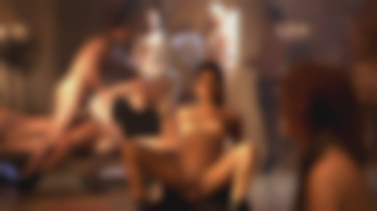 Hardcore orgy for 8 naughty girls going dirty and wild