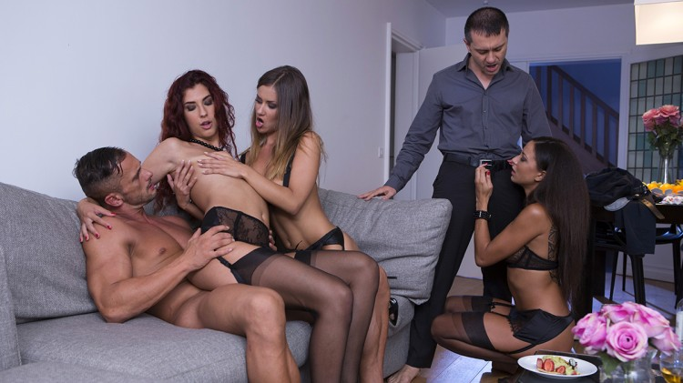 Perverse orgy with 3 hot girls